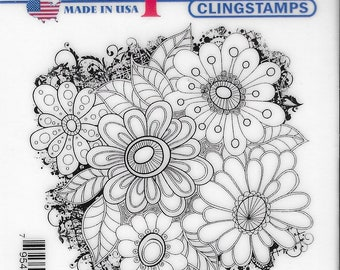 Deep Red Cling Stamps --    Color Me Daisies       -- NEW -- (#3830)