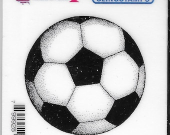 Deep Red Cling Stamps --     Soccer Ball   -- NEW -- (#3842)