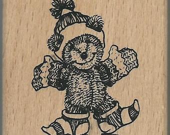 Winter Bear Stamp  --   NEW  --  Wood Mounted Rubber Stamp --  Anita's Brand  --   (#805)