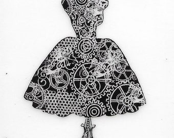 Deep Red Cling Stamps --    Dress Form Steampunk  -- NEW -- (#3396)