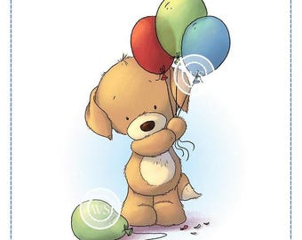 Whimsy Stamps --  Puppy with Balloons -- NEW -- (#2413)