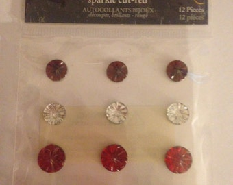 Little Yellow Bicycle  --  Sparkle Cut Red Jewel Stickers  --   NEW  --   (#949)