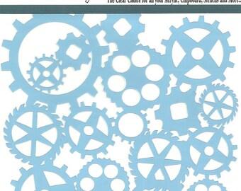 Clear Scraps Designer Stencil -- New -- GEARS -- (#3553)
