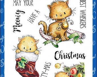 Whimsy Stamps -- Meowy Kitty-mas -- NEW  -- (#2580)