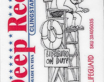 Deep Red Cling Stamps --     Lifeguard    -- NEW -- (#3808)
