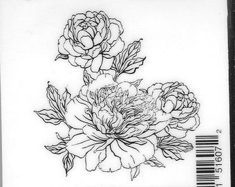 Deep Red Cling Stamps -- Carnation Blossoms  -- NEW -- (#2954)
