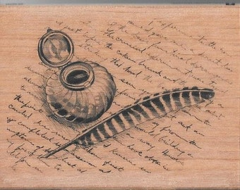 Ink Well/Feather Quill Stamp --  NEW -- wood stamp --  (#2972)