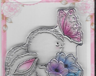 Wild Rose Studio Clear Stamp -- NEW -- Bunny and Butterfly -- (#2241)