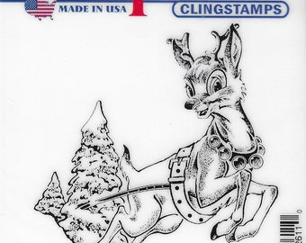 Deep Red Cling Stamps --   Rudolph Reindeer    -- NEW -- (#3455)