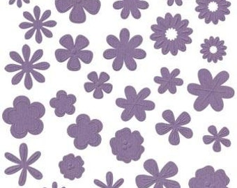 NEW  --  Bazzill Basics Flower Pot --  108 pieces  --  Die Cut Flowers  -- Flirty (purple)  (#116)