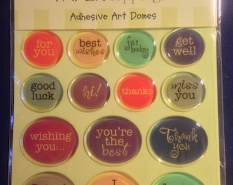All Night Media --  Paper Toppings Embellishments  --  Adhesive Art Domes   -- NEW  (#1008)