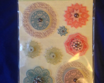 K & Company Grand Adhesions --  Engraved Garden Medallion  --   NEW   --   self adhesive dimensional stickers  (#831)