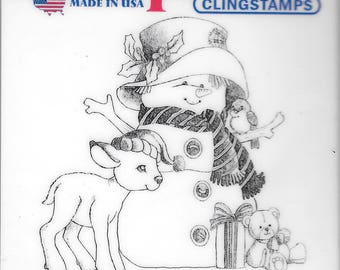 Deep Red Cling Stamps -- Woodland Snowman  -- NEW -- (#2500)