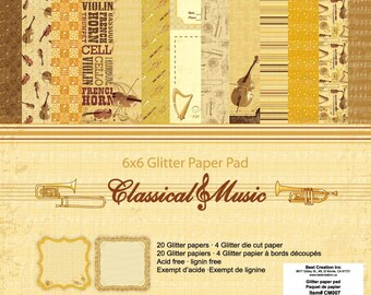 6 x 6 Glitter Paper Pad  ~~ Classical Music   ~~   Double sided paper  ~~  NEW  (#2007)