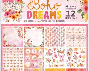 6 x 6 Paper Pad ~ Boho Dreams ~ Double sided ~ NEW (#3745)