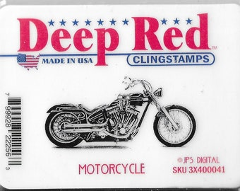 Deep Red Cling Stamps --    Motorcycle    -- NEW -- (#3822)