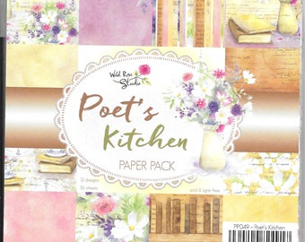 6 x 6 Paper Pad ~ Poet's Kitchen ~  Wild Rose Studio  ~ NEW (#2660)