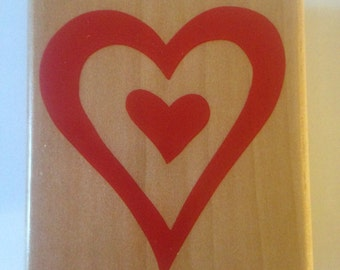 Heart in Heart Stamp  --   NEW  --  Wood Mounted Rubber Stamp --  Rubber Stampede Brand --   (#924)
