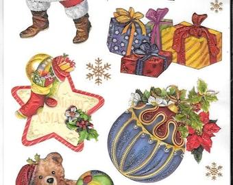 Glitter Embossed Stickers  - NEW (#1949) -  Christmas Santa