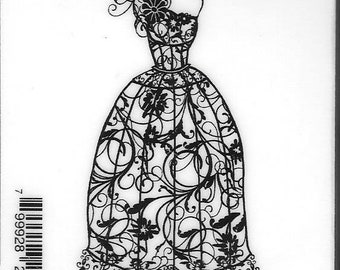 Deep Red Cling Stamps --  Dress Form Floral Corsage -- NEW -- (#2814)