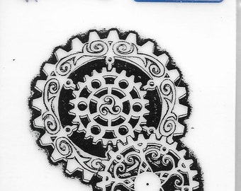 Deep Red Cling Stamps -- Steampunk Gears  -- NEW -- (#3168)