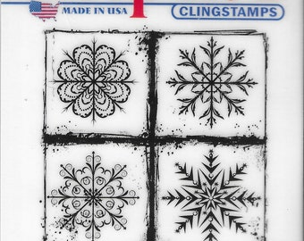Deep Red Cling Stamps --  Frosted Snowflakes   -- NEW -- (#3464)