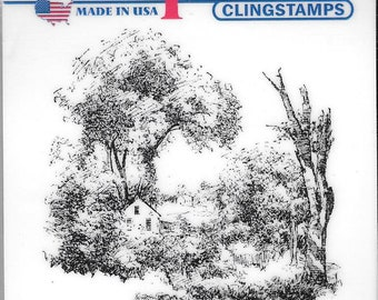 Deep Red Cling Stamps --  Cottage Watercolor -- NEW -- (#2891)
