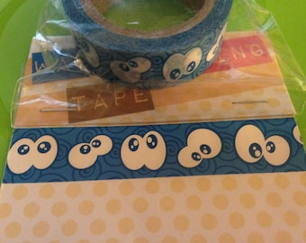 Halloween Washi tape  --  NEW -- Blue pattened with Googly Eyes  -- (#1807)