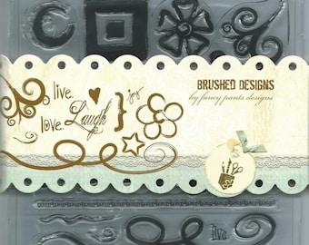 Fancy Pants Designs  Clear Stamp Set --  NEW  -- Brushed Designs  --      (#1023)