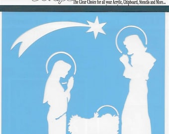 Clear Scraps Designer Stencil -- New -- Nativity -- (#3555)