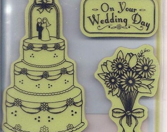 Rubber Stamp Set -- NEW -- On Your Wedding Day Cling Stamps -- Inkadinkado Brand. (#2051)