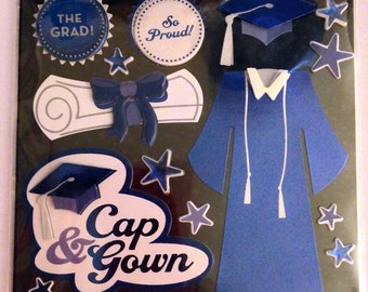 K & Company LLO  --  Blue Cap and Gown --  NEW --  dimensional stickers  (#1831)