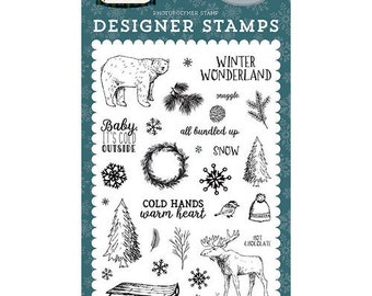 Carta Bella Cling Stamps --  Cold Hands Warm Heart  -- NEW -- (#3949)