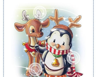 Whimsy Stamps -- Penguin and Reindeer Friend -- NEW -- (#2859)
