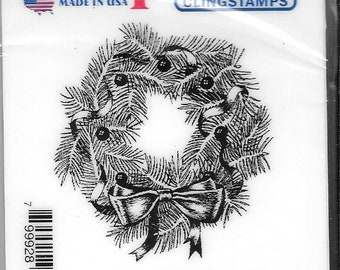 Deep Red Cling Stamps -- Pine Wreath  -- NEW -- (#2924)
