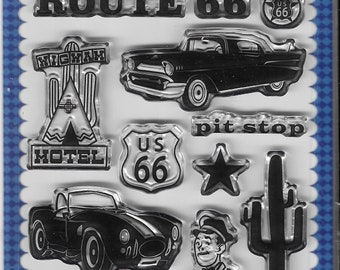 Carta Bella Cling Stamps -- Route 66 Stamp Set -- NEW -- (#3388)