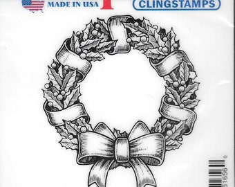 Deep Red Cling Stamps --  Holly Wreath -- NEW -- (#2915)