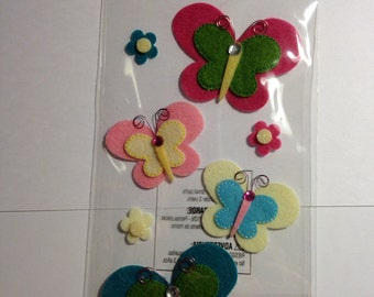 Jolee's Boutique --  Playful Butterflies -- 8 pieces -- self adhesive dimensional stickers -- NEW  --  (#415)