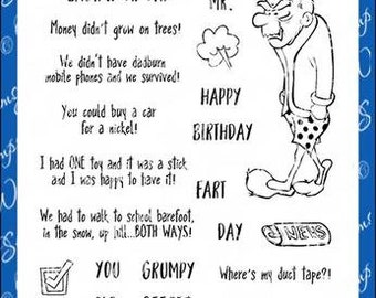 Whimsy Stamps --   Old Geezer   -- NEW  -- (#4263)