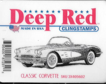 Deep Red Cling Stamps -- Classic Corvette  -- NEW -- (#2427)
