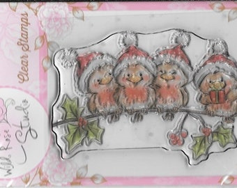 Wild Rose Studio Clear Stamp   --  NEW -- Robins on Branch  --  (#2242)
