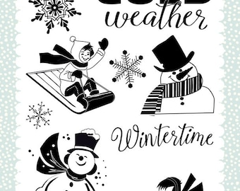 Carta Bella Cling Stamps --  Wintertime  -- NEW -- (#3333)