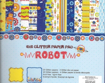 6 x 6 Glitter Paper Pad  ~~  Robot ~~   Double sided paper  ~~  NEW  (#2436)