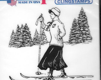 Deep Red Cling Stamps --  Vintage Skier  -- NEW -- (#2920)