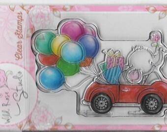 Wild Rose Studio Clear Stamp -- NEW -- Bella in Car -- (#2136)