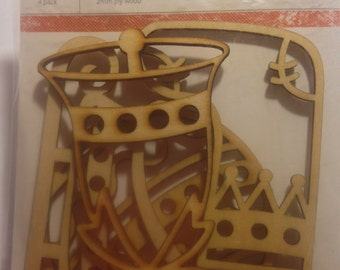KaiserCraft  --  Wood Flourishes  --  Christmas  --  New  --    (#1551)  -- 4 pieces