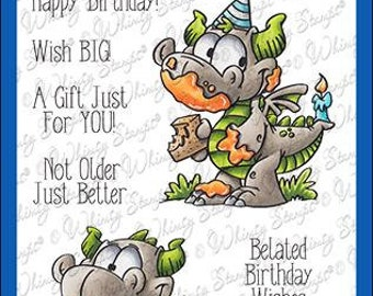 Whimsy Stamps --   Birfday Dragons   -- NEW  -- (#4099)