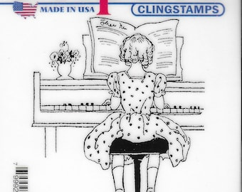 Deep Red Cling Stamps --  Piano Solo      -- NEW -- (#3823)