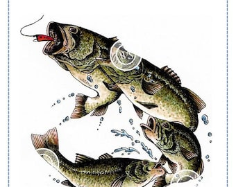 Whimsy Stamps --   Large Mouth Bass-- NEW  -- (#2708)