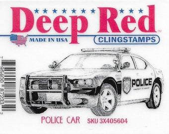 Deep Red Cling Stamps --   Police Car    -- NEW -- (#3405)